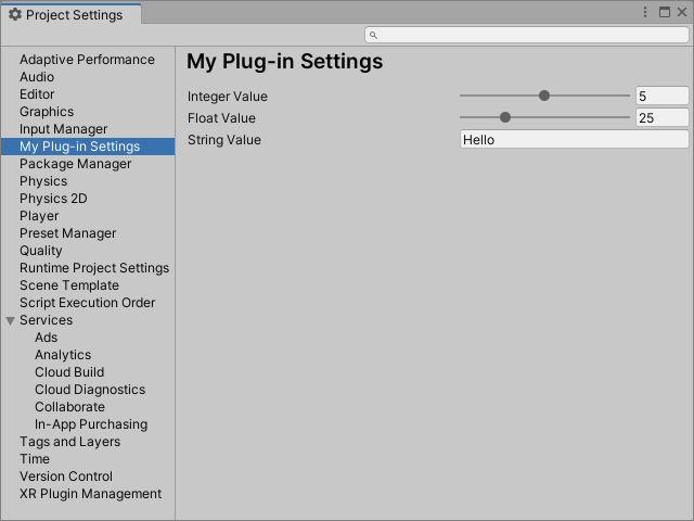 Custom editor settings for Unity.